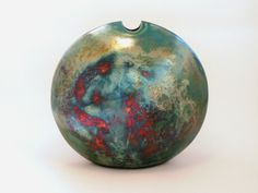 Large Raku Fired Turquoise Copper Vessel Reverse By Toby Rivett  Sold at Pewsey Gallery UK