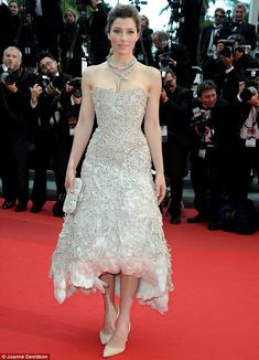 Supporting her man: Jessica Biel wore a striking Marchesa dress to support her husband Justin Timber lake. #cannes2013