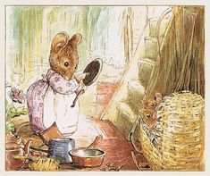 """Beatrix Potter """"The Tale of Two Bad Mice"""" Useful pots and pans Children's Book Illustration, Watercolor Illustration, Tales Of Beatrix Potter, Beatrix Potter Illustrations, Peter Rabbit And Friends, Art Drawings, Art Prints, Artist, Artwork"""