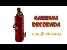 Garrafa Reciclada e Decorada com Borboletas ( ARTESANATO, DIY, RECICLAGEM )