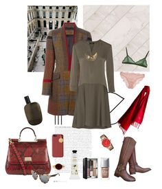 """""""Plaid coat"""" by nathalie-puex ❤ liked on Polyvore featuring Prada, Cosabella, Tory Burch, Christian Dior, Mamonde, Bobbi Brown Cosmetics, Etro, Theory, Pamela Love and Comme des Garçons"""