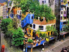 """Vienna, Austria. """"Hundertwasser House"""" by Friedensreich Hundertwasser"""