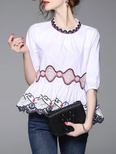 3/4 Sleeve Casual Embroidered Ruffled Cotton Blouse