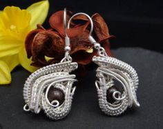 Arabic Nights / Silver-plated copper wire earrings with Bronzite / ( Nicole Hanna designed ) / wire wrapped / - Edit Listing - Etsy