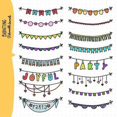 Bunting by Danielle Lounds Bullet Journal Inspo, Bullet Journal Ideas Pages, My Journal, Choses Cool, Kalender Design, Doodle Borders, Doodle Art, How To Draw Hands, Doodles