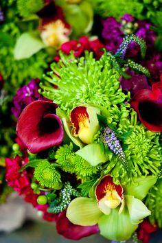 purple and green floral arrangements