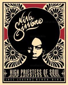Nina Simone, High Priestess of Soul Nina Simone, Soul Jazz, Soul Funk, Rock Posters, Concert Posters, Retro Posters, Music Posters, Soul Music, Music Love