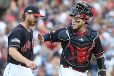 Cleveland Indians catcher Roberto Perez gives Josh Tomlin a pat on the chest after the 2nd inning against the Toronto Blue Jays, game 2 of the ALCS at Progressive Field, in Cleveland, Ohio on Oct. 15, 2016. Indians won 2-1 (Chuck Crow/The Plain Dealer)