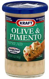 Kraft Olive & Pimento spread in a jar -- discontinued by the idiots at Kraft. Even food snobs will wolf down stuffed celery if you use this.  Easiest party food ever.