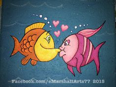 concrete stepping stone.  tole painting.  patio paint  kissing fish