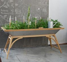In my ideal world I would skip out the backdoor into my luscious yard and pick a few leafy greens and vegetables out of my organic garden for a lovely summer's dinner each night. But in reality, I am just trying to make sure I water my plants without starving or drowning them on a daily basis. So building a salad table just might save the day.