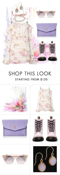 """""""spring1"""" by saraholic ❤ liked on Polyvore featuring Alessandra Rich, Hayward, Dr. Martens, Jimmy Choo, Giuseppe Zanotti, Spring, floral and lavender"""