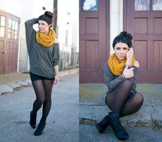 Mustard yellow scarf paired with dark Flashdance.