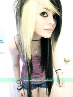scene girl. Should i do my hair like this, blue, or red?