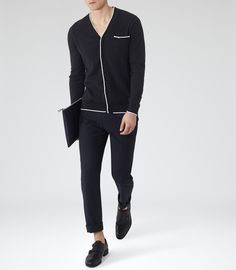 Mens Navy Piped Cotton Cardigan - Reiss Jules
