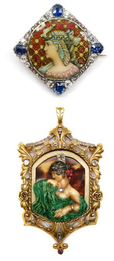 Two examples of antique portrait jewelry. The first is a beautiful Victorian Egyptian revival brooch/pendant in enamel with sapphires and diamonds and the second is an Art Nouveau pendant by Fuset y Grau.