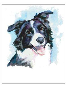 $15.00 + shipping - Border Collie Happy -  Dog Pet Portrait fine art watercolor print