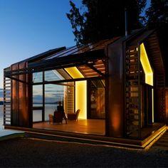 Garage renovation turned beautiful cabin on Vashon Island - UPCYCLIST Seattle, Eco Cabin, Vashon Island, Garage Renovation, Roof Structure, Wooden Flooring, Deco, Gazebo, Outdoor Structures