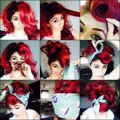 Rockabilly hair. Pinup hair. Bad hair day hair style. 1. Section off bangs. 2. Roll them 3. Clip the rest of the hair up. 4. Tie a hair scarf. #Red hair. #pinup . bandana. Head scarf.