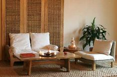 Good 'zen' example... natural rug, wood-framed/ natural seats. Gently grounding, peaceful, soothing