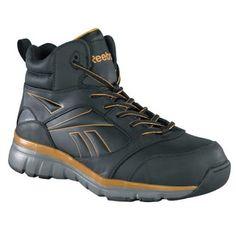 ef297537a56180 Reebok Mens Black Copper Leather Hi Top Sneaker Tarade Composite Toe