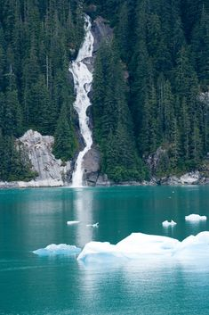 Tracy Arm Fjord waterfall, Alaska.