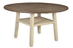 Signature Design By Ashley - Bolanburg Round Drop Leaf Counter Table - Casual Style - Antique White Round Extendable Dining Table, Solid Wood Dining Table, Dining Room Table, Ashley Furniture Industries, Counter Height Dining Table, Drop Leaf Table, Weathered Oak, At Home Store, Chicano