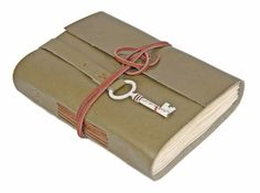 Olive Green Leather Journal, Tea Stained Paper, Hand Bound Journal, Travel Journal, Leather Journal, Bookmark, Key, BoundByHand