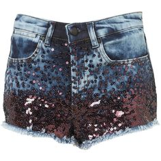 MOTO Sequin Ombre Denim Shorts ($35) ❤ liked on Polyvore featuring shorts, bottoms, short, topshop, blue, mid stone, denim shorts, blue shorts, ombre shorts and blue sequin shorts