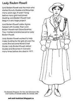 Learning about Lady Baden Powell as you colour :) Girl Scout Swap, Girl Scout Troop, Cub Scouts, Brownies Girl Guides, Brownie Guides, Thinking Day Girlguiding, Brownies Activities, Baden Powell, Girl Scout Activities