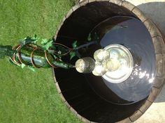 DIY wine barrel fountain