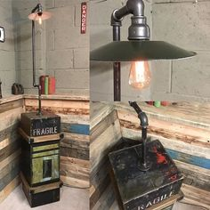This vintage ammunition box has been upcycled into a unusual floor lamp with…                                                                                                                                                     More