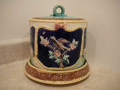 Antique Thomas Forester Majolica Cheese Dome Keeper Birds Ferns Water Lily