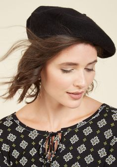 The One in the Beret Hat in Noir. Finding your friends in a crowd can be a challenge - youre better off staying put and advising them to keep an eye out for your black beret! Find Your Friends, Beret, Modcloth, Crowd, Winter Fashion, Winter Hats, Feminine, Fashion Outfits, Boho