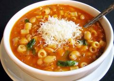 "After posting the last soup I got some requests for Pasta Fagioli. I have a few recipes for this dish and this one has escarole added. Pasta ""fazool"" is a old dish that is basically made with ingredients that were pretty basic and very inexpensive. Typical Italian Peasant food that of course is insanely delicious! Click here for the recipe: http://www.mamamancinis.com/pasta-fazool/"