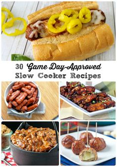 30 Game Day-Approved Slow Cooker Recipes via thefrugalfoodiema. - from appetizers to chilis to sandwich fixings & more! Crock Pot Food, Crockpot Dishes, Crock Pot Slow Cooker, Slow Cooker Recipes, Crockpot Recipes, Cooking Recipes, Slow Cooking, Tailgating Recipes, Tailgate Food