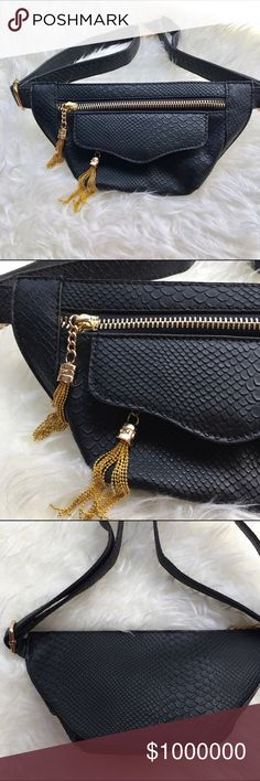 🆕Nasty Gal Waist Bag 💥Discounted Bundles💥 ▪️Please use the offer feature 👍🏽 ▪️Ships within 24 hours ✈️ ▪️🚫No trades🚫No Paypal 🚫Holds ▪️ Love the item but not the price?  Make an offer! 😊 ▪️Questions?  Don't be shy!  Feel free to ask 💁🏽 ▪️Condition - NWOT ▪️Size - one size, Adjustable  ▪️Material - Mixed ▪️Description - Gorgeous Nasty Gal fanny pack with hold hardware and two zippered pockets.  Cute gold tassel accents and faux snakeskin material.  Never worn and completely sold…