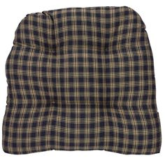 Sturbridge Black Chair Pad: Sturbridge Black country kitchen chair pads from Park Designs. Featuring a plaid of black and beige. Measures x x A thick, generous chair pad with ties in cotton fabric.