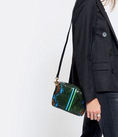 CLARE V. - Sac Midi Serpent Vert Bandes Azur Noir Vert Serpent, Midi, Shoulder Bag, Style, Fashion, Green Leather, Lambskin Leather, Smooth Leather, Black Leather
