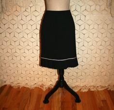 Black Midi Skirt with Pink Trim Pleated Hem Boho by MagpieandOtis