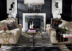 Dramatic walls with comfortable furniture. Don't love the gold though. Wild One Living Room | Ethan Allen
