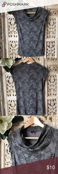 """Jacob Canada top size S. Grey w/ black lace print Jacob Canada top size S. Grey w/ black lace print. Across chest about 16"""". Top length about 24 1/2"""". Excellent quality material 91% Rayon 9% Spandex Jacob Canada Tops"""