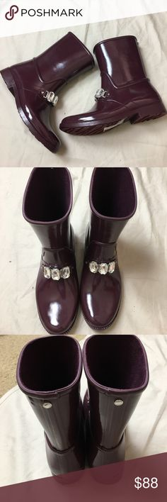 Micheal Kors Rain Boots, Boots, Rain, waterproof Brand new Michael Kors Rain Boots. Nice plum color. Rhinestone bling on front.  Just in time for winter. I have several pairs and love them. Michael Kors Shoes Winter & Rain Boots