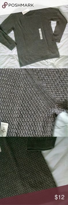 Grayish-Brown Sweater L NWT! Re-posh! Be ready for sweater weather!   Really cute but not my size. Soft material! ☺ Measurements are provided.  Price is firm! Bundle items to save! 😊 Sonoma Sweaters Crew & Scoop Necks
