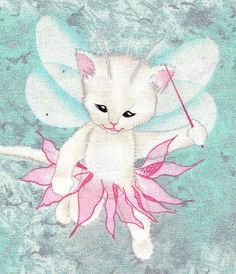 Pixie Kitty Cats on SeaFoam Green Fabric by by FabricAndTreasures, $12.00