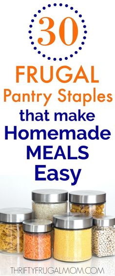 30 Frugal Pantry Staples that Make Homemade Meals Easy. Do you stock these frugal pantry staples? They'll help you make easy homemade meals fast! Money Saving Meals, Save Money On Groceries, Frugal Living Tips, Frugal Tips, Make Your Own Pasta, Classic Kitchen, Easy Chicken Pot Pie, Homekeeping, Frugal Meals