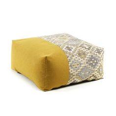 Mustard Nazca pouf 70 x 70 cm. Pouf in fabrics combination. Furniture For You, Furniture Design, Outdoor Furniture, Outdoor Decor, Mobile Safari, Floor Pouf, Fabric Combinations, Contemporary Sofa, Ikat