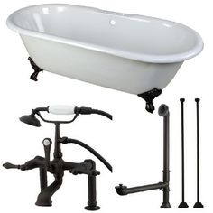 Aqua Eden Classic Double Ended 5.5 ft. Cast Iron Clawfoot Bathtub in White and Faucet Combo in Oil Rubbed Bronze