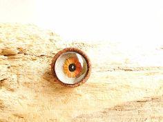 Embroidered Jewellery  Orange Eye Brooch  Eye by Beetlebirdhare