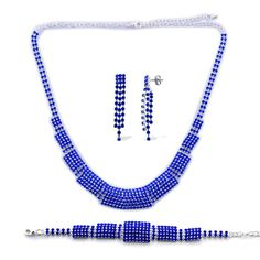 Blue Austrian Crystal Earrings, Bracelet  and Necklace Set  http://stores.ebay.com/JEWELRY-AND-GIFTS-BY-ALICE-AND-ANN